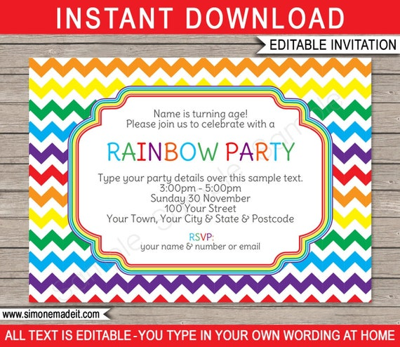 Rainbow Birthday Party Invitation Printable Template Rainbow Theme Invite Instant Download With Editable Text You Personalize At Home By Simonemadeit Catch My Party