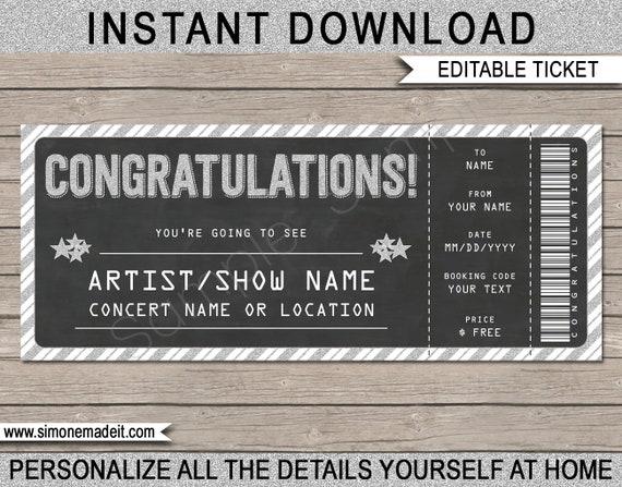 printable concert ticket gift gift voucher certificate
