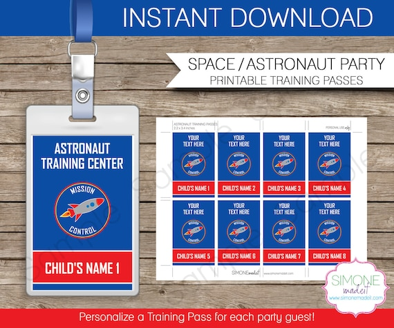 Space Party Astronaut Training Pass Printable Insert