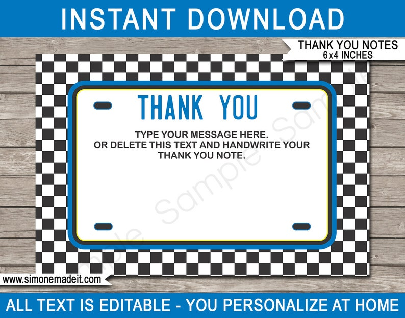 image regarding Printable License Plates Templates named Race Auto Thank Your self Playing cards - Blue - License Plate Thank Yourself Playing cards - Blue Race Motor vehicle Concept - 4x6 inch - Immediate Down load with EDITABLE words and phrases