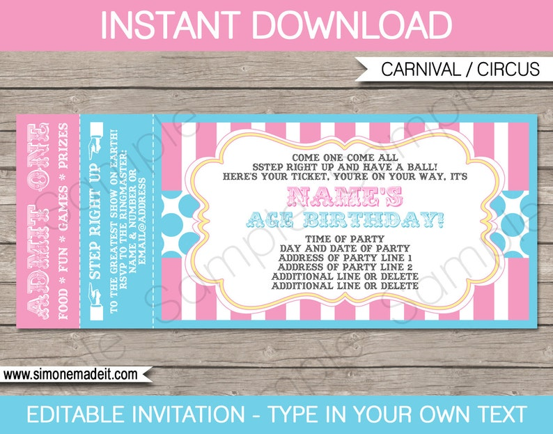 Pink Circus Ticket Invitation Template