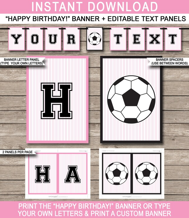 Girls Soccer Party Banner Happy Birthday Banner Custom Etsy Enchanting Decorate Your Own Soccer Ball