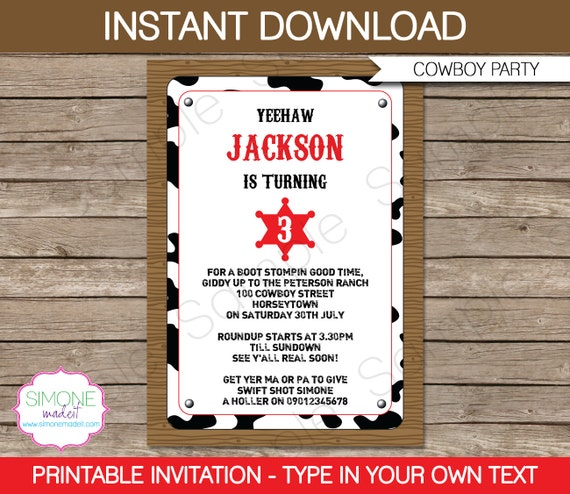 cowboy invitation template birthday party instant download