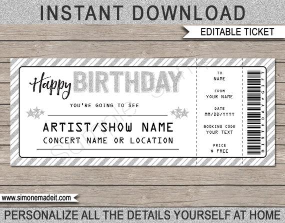 Birthday Gift Concert Ticket Printable Gift Voucher | Etsy