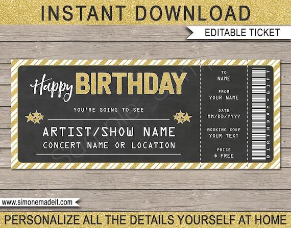 Birthday Concert Ticket Gift Printable Gift Voucher
