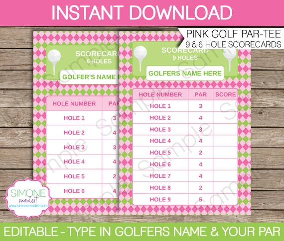 Pink Golf Scorecard for 9 & 6 holes INSTANT DOWNLOAD | Etsy