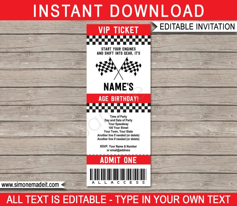 Race Car Party Ticket Invitation Template - Racing Car Birthday Party  Invite - INSTANT DOWNLOAD with EDITABLE text - you personalize at home