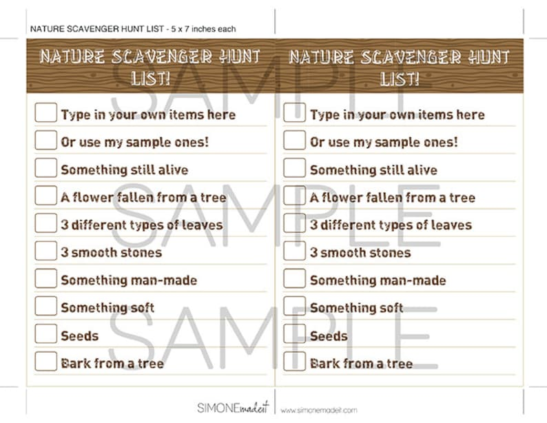 Scavenger Hunt List >> Camping Party Nature Scavenger Hunt List Camping Party Games Etsy