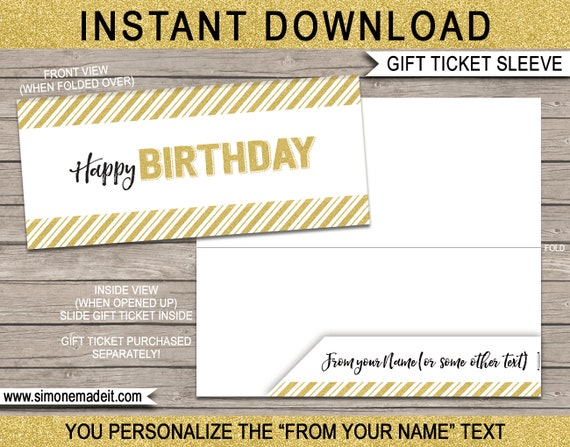 Printable Sleeve Envelope For Birthday Gift Tickets