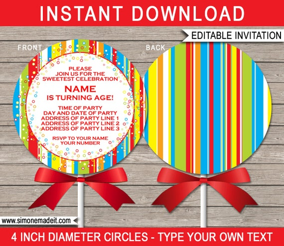 lollipop invitation template printable lollipop birthday party