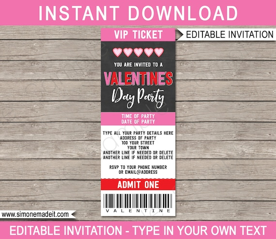 Valentine S Day Ticket Invitation Template Chalkboard