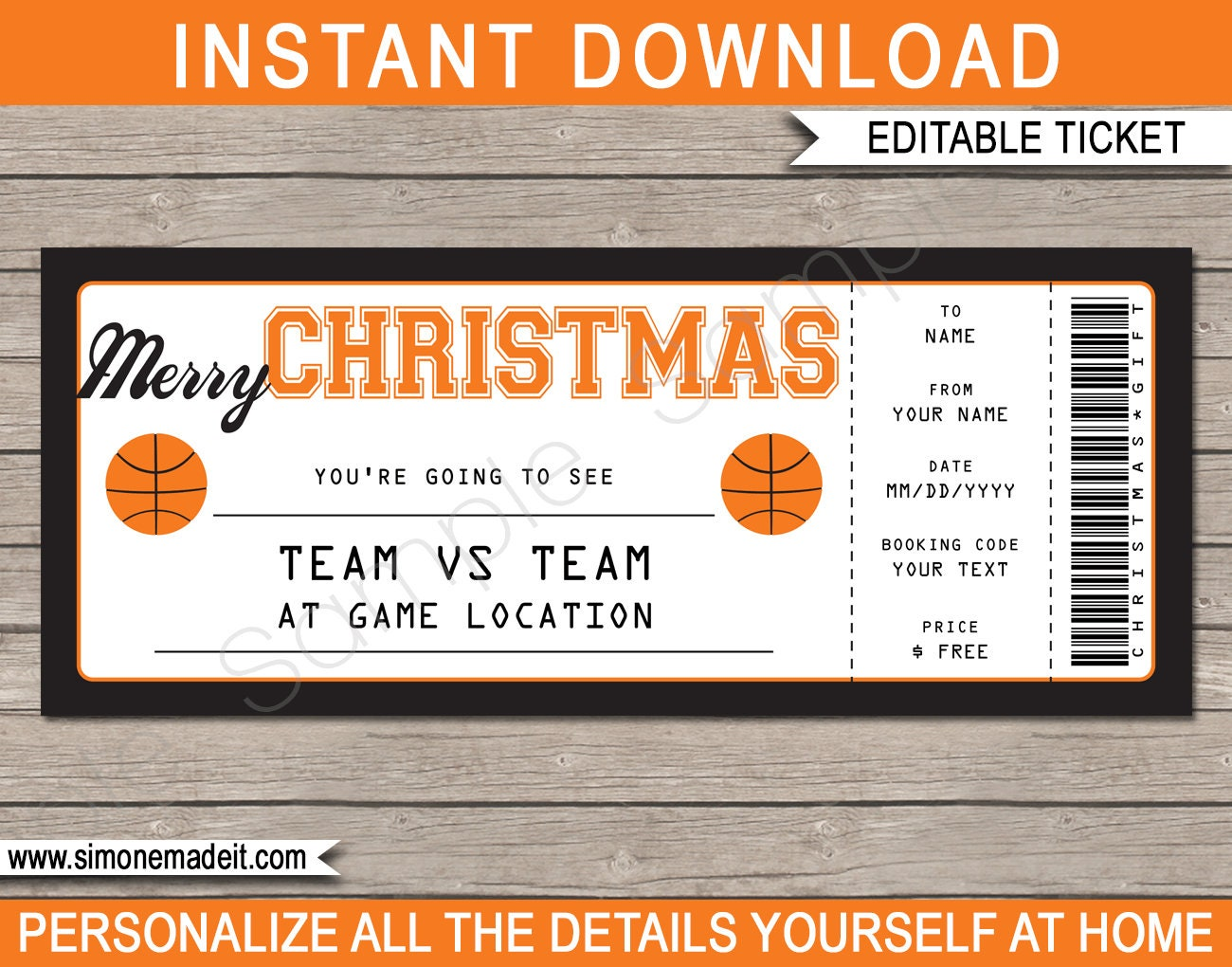 Basketball Game Ticket Christmas Gift - Surprise Ticket to a Basketball  Game - Printable template - INSTANT DOWNLOAD - EDITABLE Gift Voucher