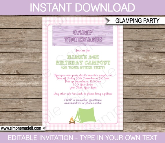 glamping invitation template girls camping birthday party