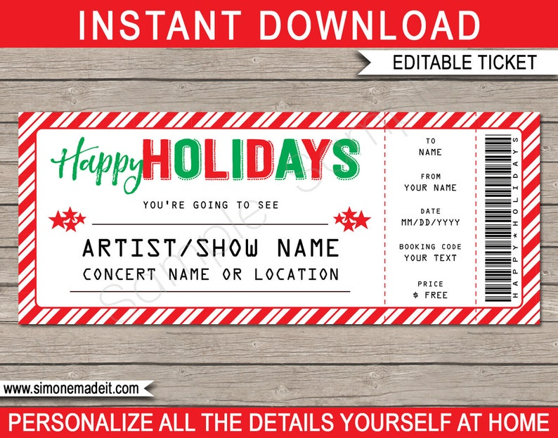 image regarding Ticket Template Printable titled Live performance Ticket template - Printable Trip Reward - Wonder Clearly show Band Artist Competition - Reward Certification - Instantaneous Down load - EDITABLE words