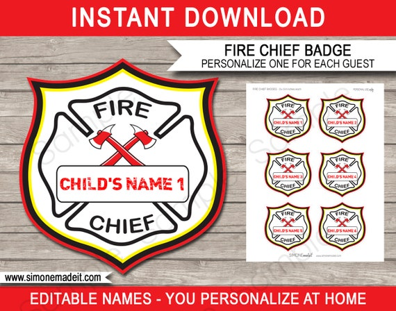 fire chief badges fireman birthday party printable party