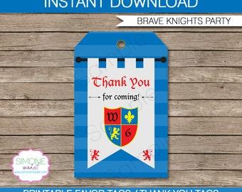 Knight Favor Tags - Thank You Tags - Birthday Party Favors - INSTANT DOWNLOAD with EDITABLE text template - you personalize at home