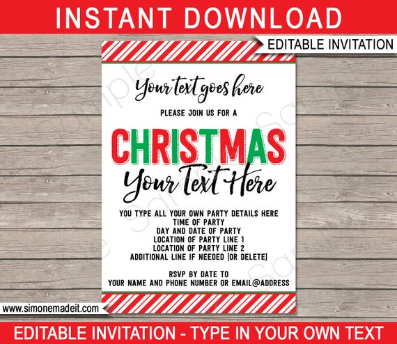 christmas party invitations printable christmas invites any