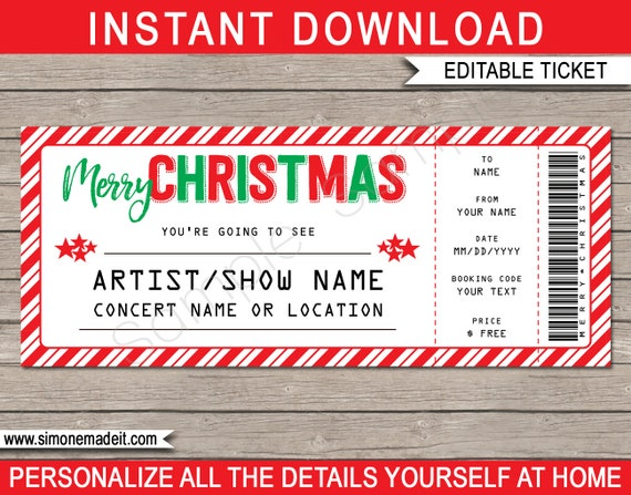 christmas concert ticket gift surprise concert show performance