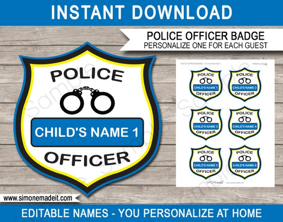 picture regarding Printable Police Badge identified as Law enforcement Officer Badges - Printable Law enforcement Birthday Celebration Decorations - Prompt Obtain with EDITABLE words template - on your own customise at household