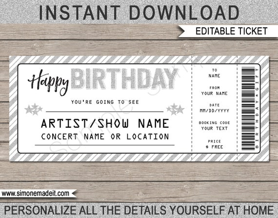 birthday gift concert ticket printable gift voucher etsy
