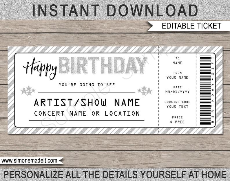 Birthday Gift Concert Ticket Printable Voucher