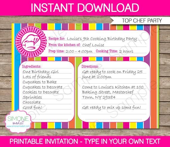 Recipe card invitation template cooking birthday party etsy stopboris Choice Image