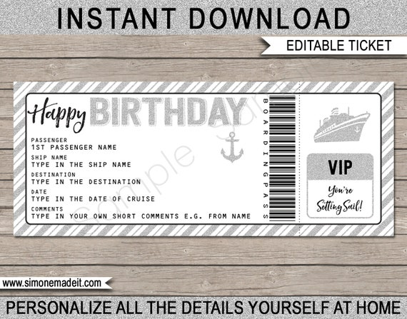 birthday gift cruise ticket fake boarding pass. Black Bedroom Furniture Sets. Home Design Ideas