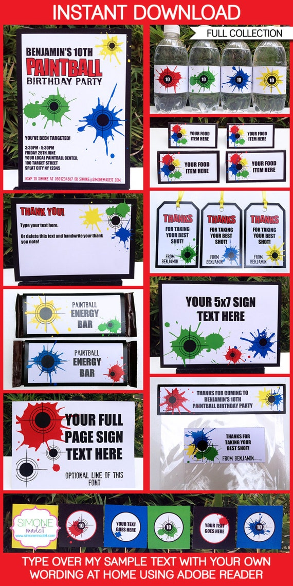 Paintball Party Invitations & Decorations