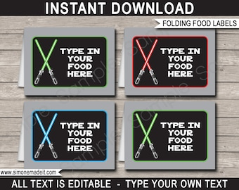Star Wars Food Labels - Star Wars Theme Party - Food Buffet Tag - Placecard - Printable Party Decorations - INSTANT DOWNLOAD - EDITABLE text