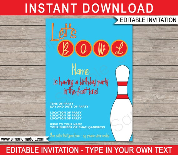 Bowling Invitation Template Birthday Party Instant Download With