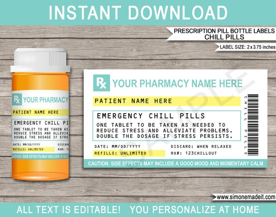 Chill Pill Prescription Labels Printable Template Rx