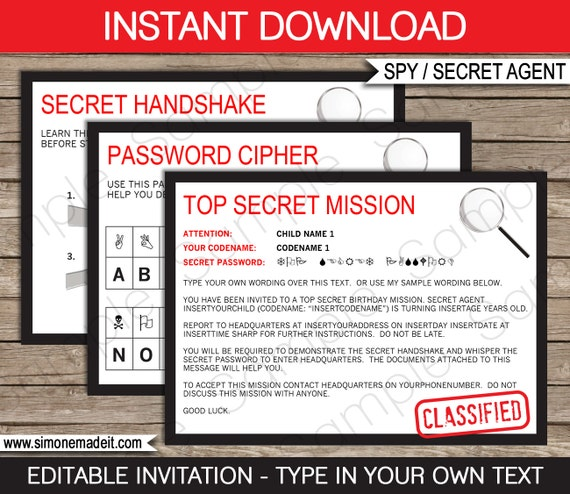 Spy Invitation Template Secret Agent Birthday Party Secret