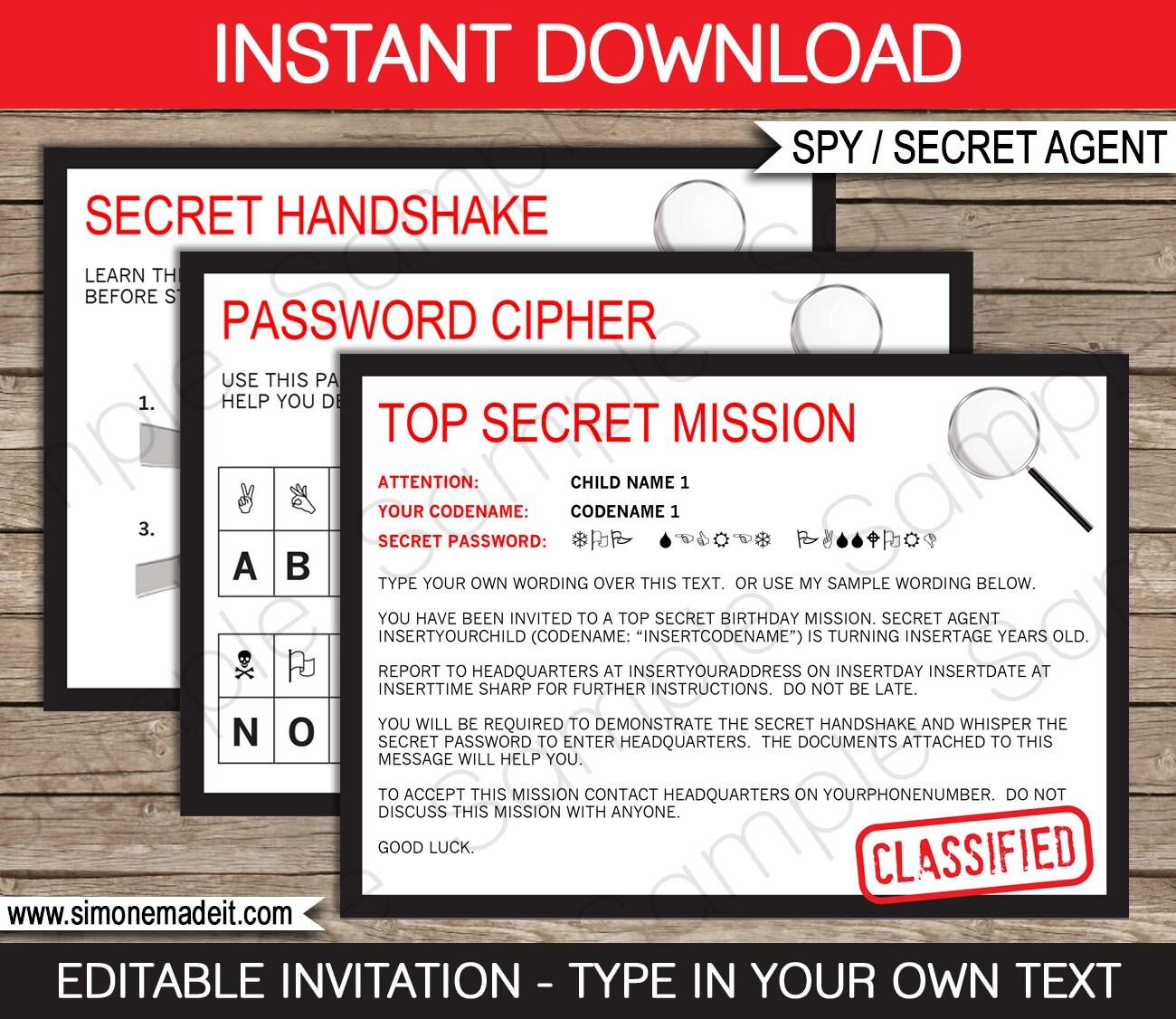 Spy Invitation Template Secret Agent Birthday Party Secret   Etsy