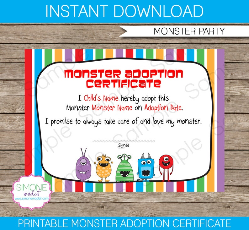 Monster Adoption Certificate Instant Download Printable Birthday