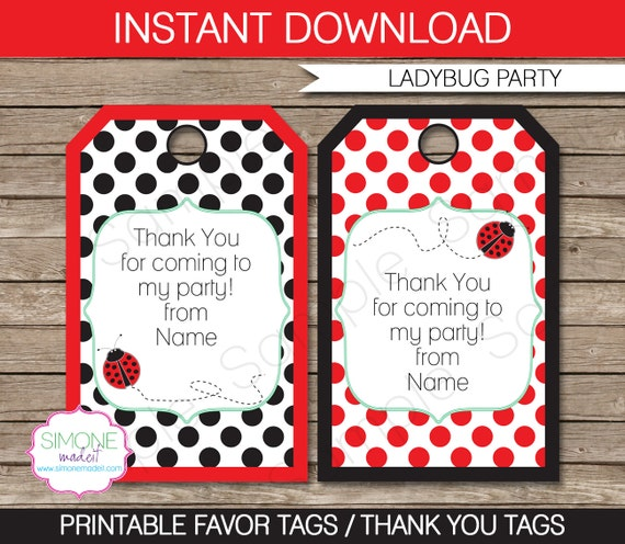 ladybug favor tags thank you tags birthday party favors