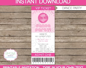 Dance Party Ticket Invitation Template - Birthday Party - INSTANT DOWNLOAD with EDITABLE text - you personalize at home