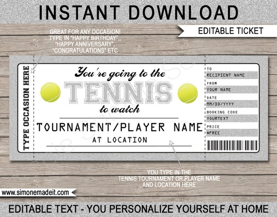 Tennis Gift Ticket Printable Template Any Occasion