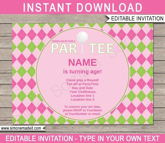 golf invitation template birthday party pink girls printable