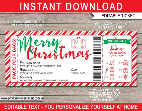 Christmas Surprise Vacation Travel Ticket Template Boarding Pass Trip Reveal Gift Idea Printable Instant Download With Editable Text By Simonemadeit Catch My Party