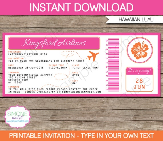 luau boarding pass invitation template birthday party instant