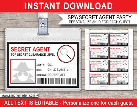 spy birthday party badge secret agent badge printable id badge