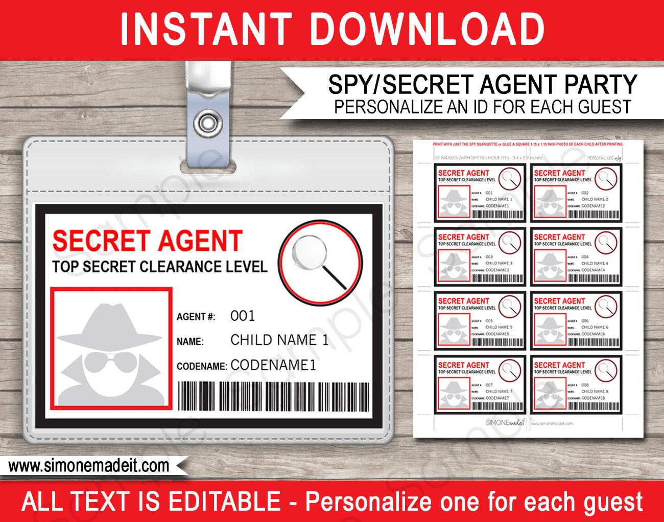 Dynamite image within secret agent badge printable