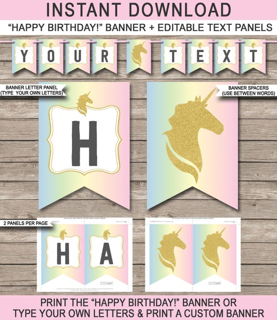 unicorn happy birthday banner unicorn theme pennant etsy