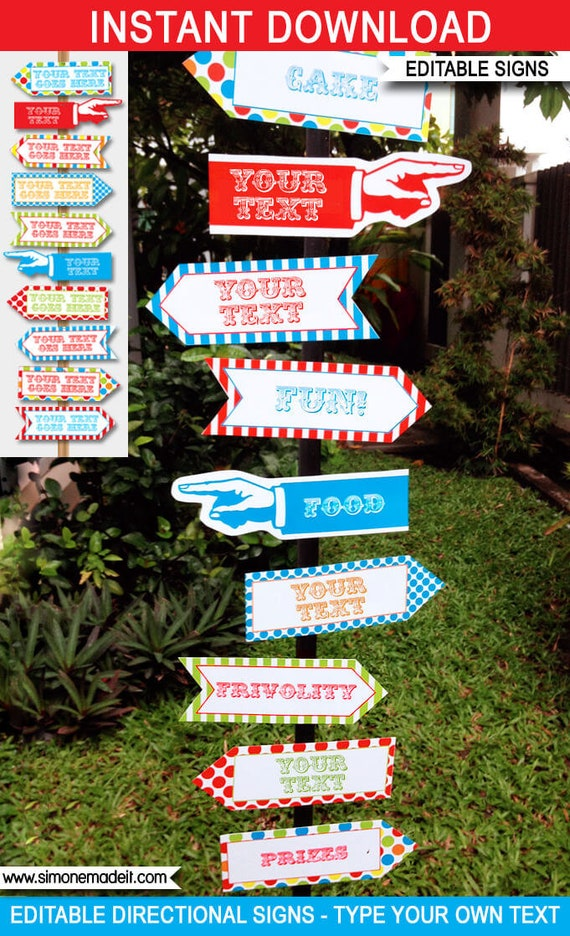 picture regarding Free Printable Carnival Signs identified as Carnival Signs and symptoms - Advice Arrows - Carnival Get together