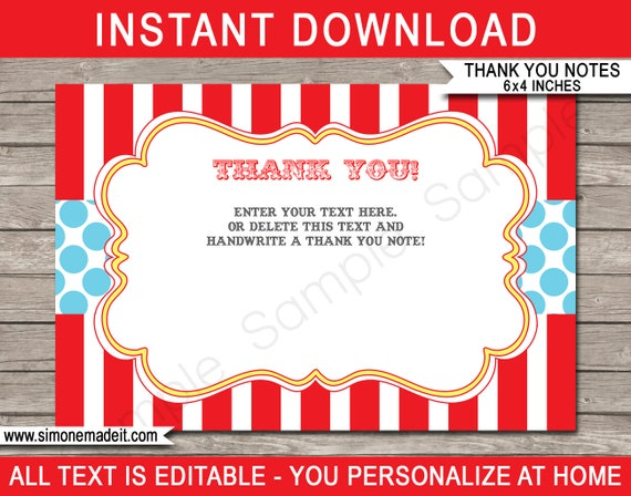 Circus Favor Tags ~ Printable Instant Download