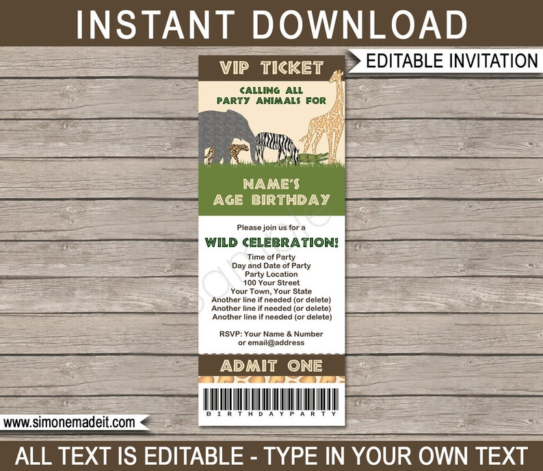 Safari Party Ticket Invitation Template Zoo Or Animal