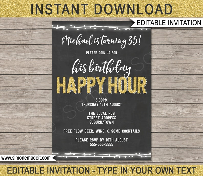 Happy Hour Invite Printable Happy Hour Invitation