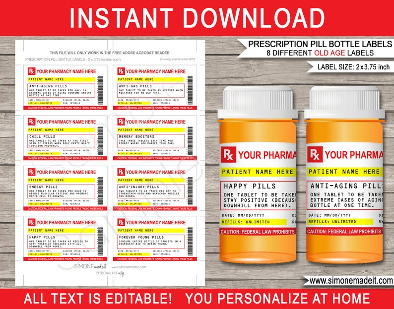 Prescription Bottle Labels Old Age Pills - Printable Rx Prescription - Gag  Birthday Gift - Pharmacy Label - INSTANT DOWNLOAD - EDITABLE text