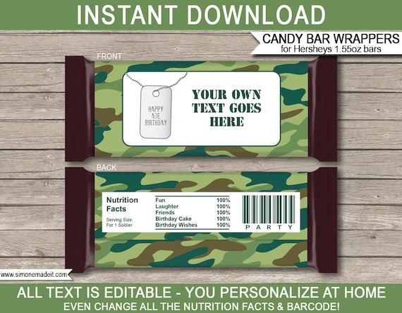 PERSONALISED CAMOUFLAGE CHOCOLATE WRAPPERS FITS ROLOS OR SIMILAR SIZE
