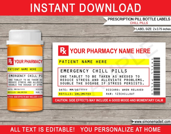 Prescription Chill Pill Labels For Pharmacy Vials